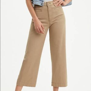 NWT Levi's Ribcage Wide Leg Cropped Tan Jeans